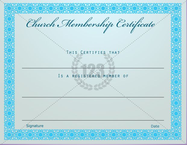 Prestigious Church Membership Certificate Template Free Download
