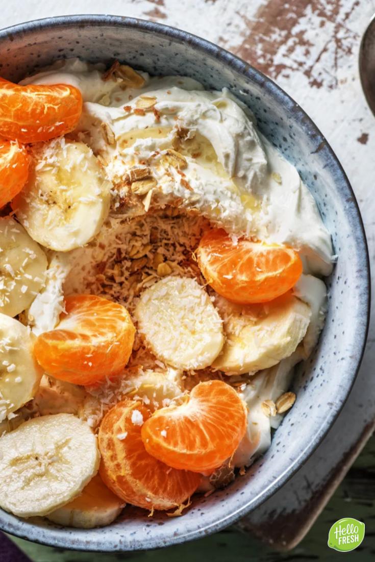 Verrassend Halfvolle kwark met banaan Met muesli en kokosrasp | Recept GQ-71