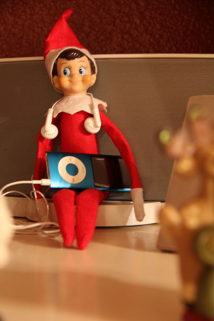 Elf on a Shelf - Caught listening to Christmas music on the iPod