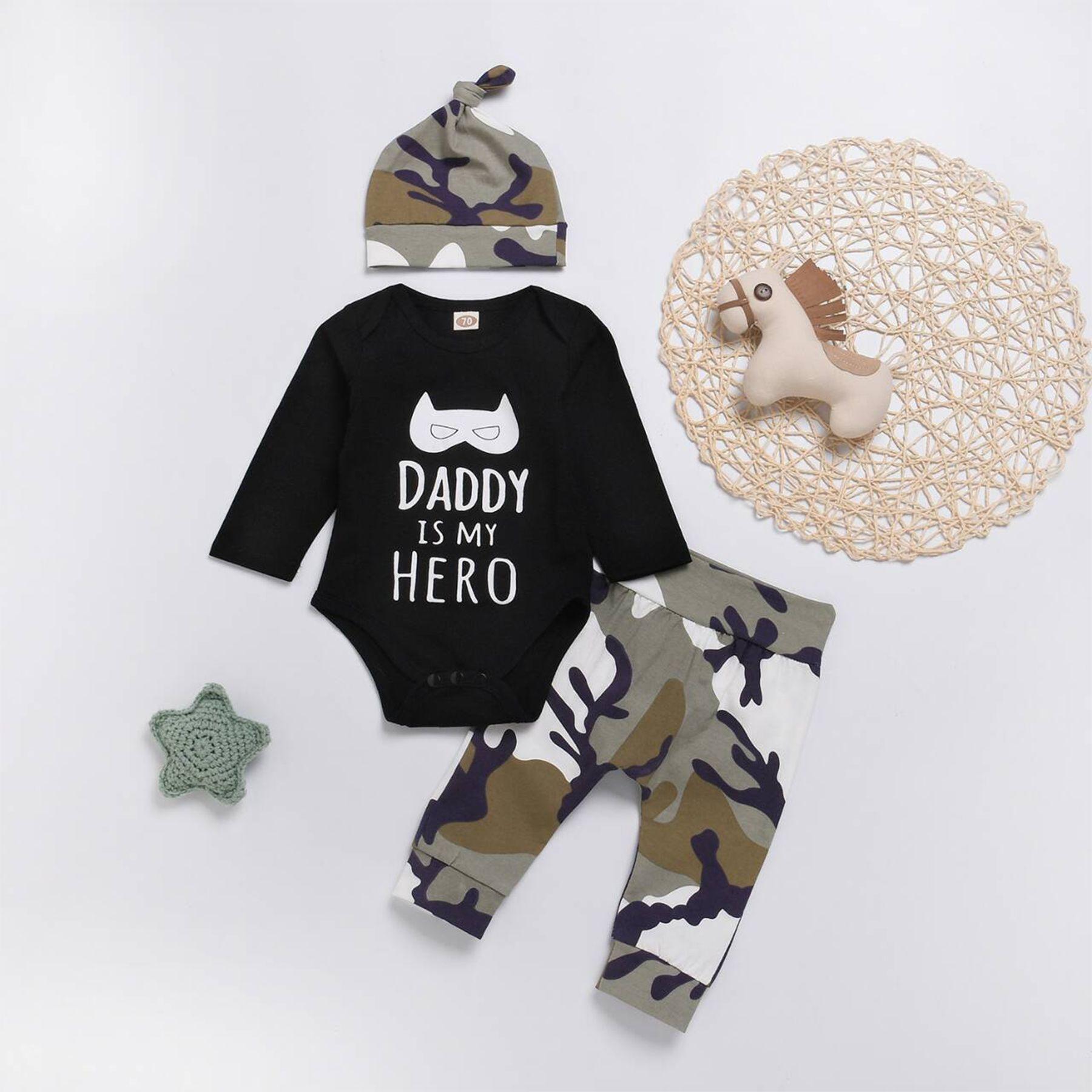 Newborn Baby Boy Letter Tops Romper Bodysuit Pants Hat Camo Outfits Clothes