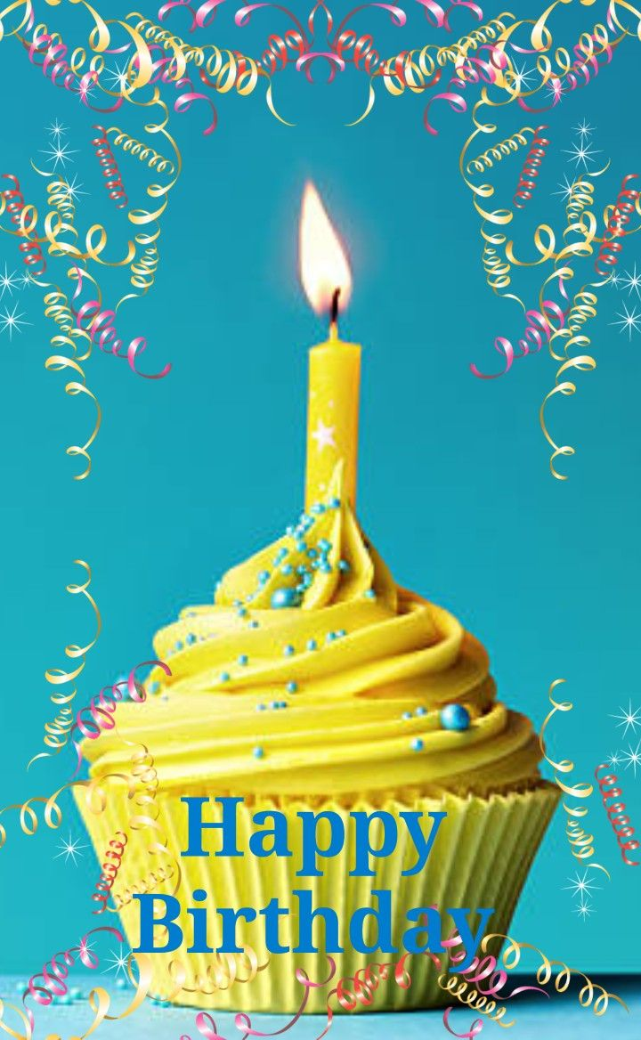 Happy Birthday Greeting Yellow Cupcake W Candle Happy Birthday