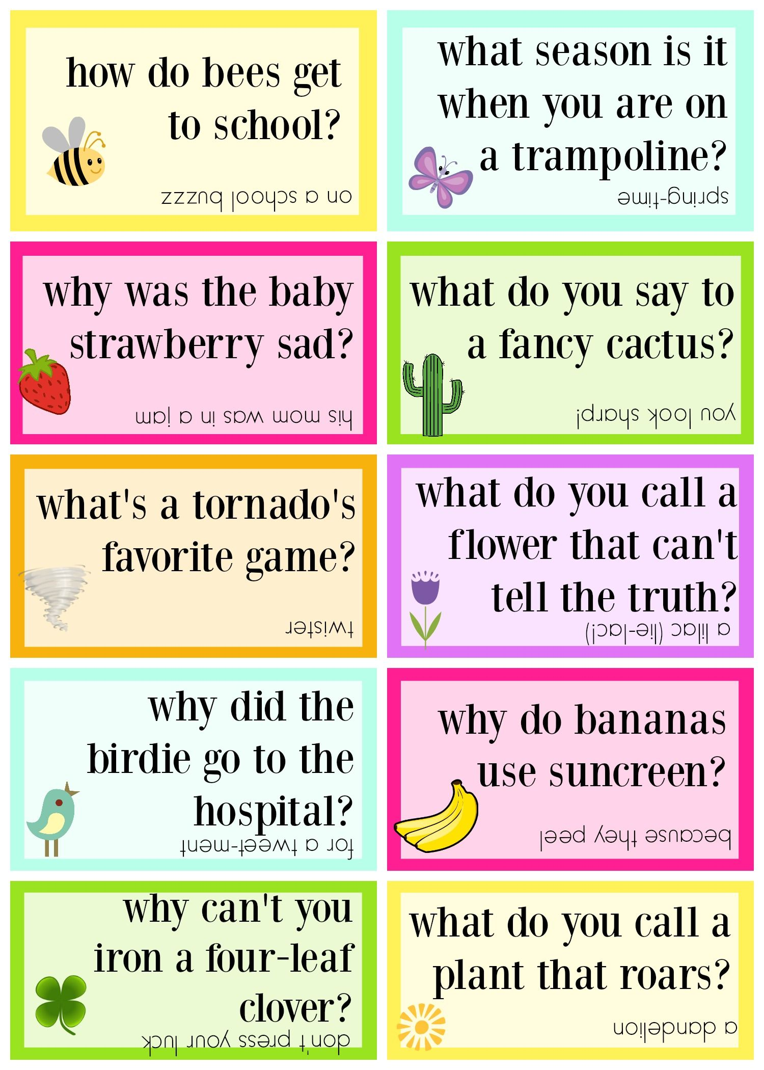 graphic regarding Printable Jokes for Kids identify Lunch Box Jokes for Spring, Cost-free PRINTABLE Lunch Box Jokes