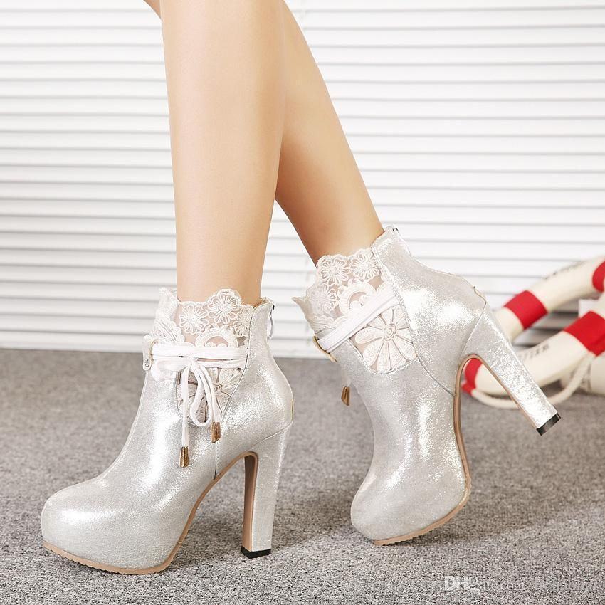 Romantic Silver White Lace Wedding Boots Bridal Shoes Dress Boots