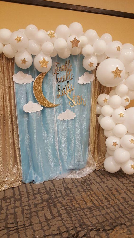 Twinkle Twinkle Little Star Backdrop Blue Baby Shower Decorations Boy Baby Shower Backdrop Twinkle Baby Shower Photo Backdrop
