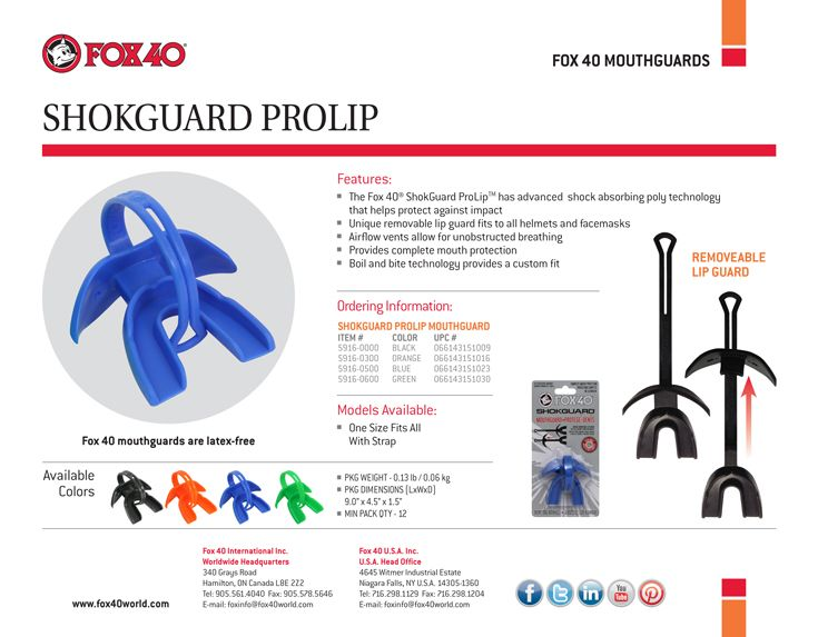 Shokguard Prolip Mouthguard #Fox40Sport http://www.fox40shop.com/s.nl/sc.7/category.25352/.f