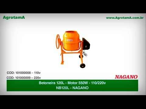 Betoneira 120 litros, Motor 550 watts 110/220 V - NB120L - Nagano é na Agrotama