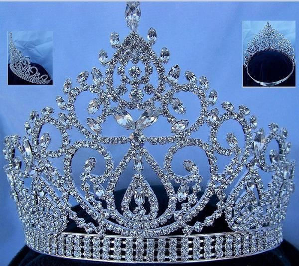Beauty Pageant Silver Clear Crystal Adjustable Crown Tiara #crowntiara