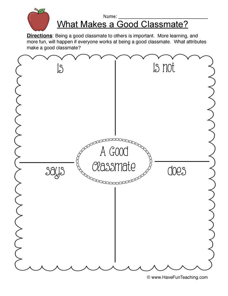 Good Classmate Worksheet   Back To School   School worksheets, Back ...