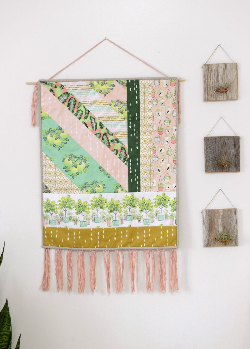 Mini Quilt Wall Hanging With Fringe Featuring Botany Fabric By