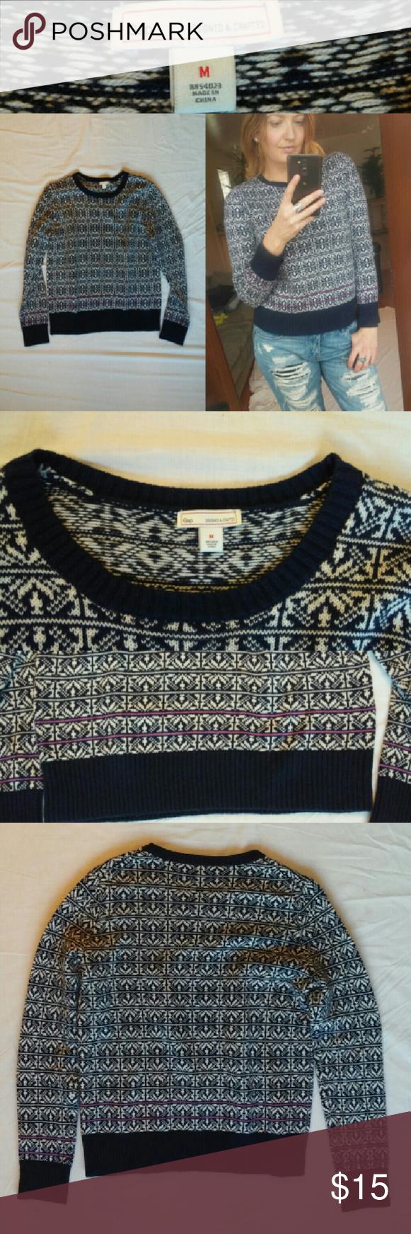 GAP Navy Fair Isle Knit Sweater Fair Isle knit sweater in navy ...
