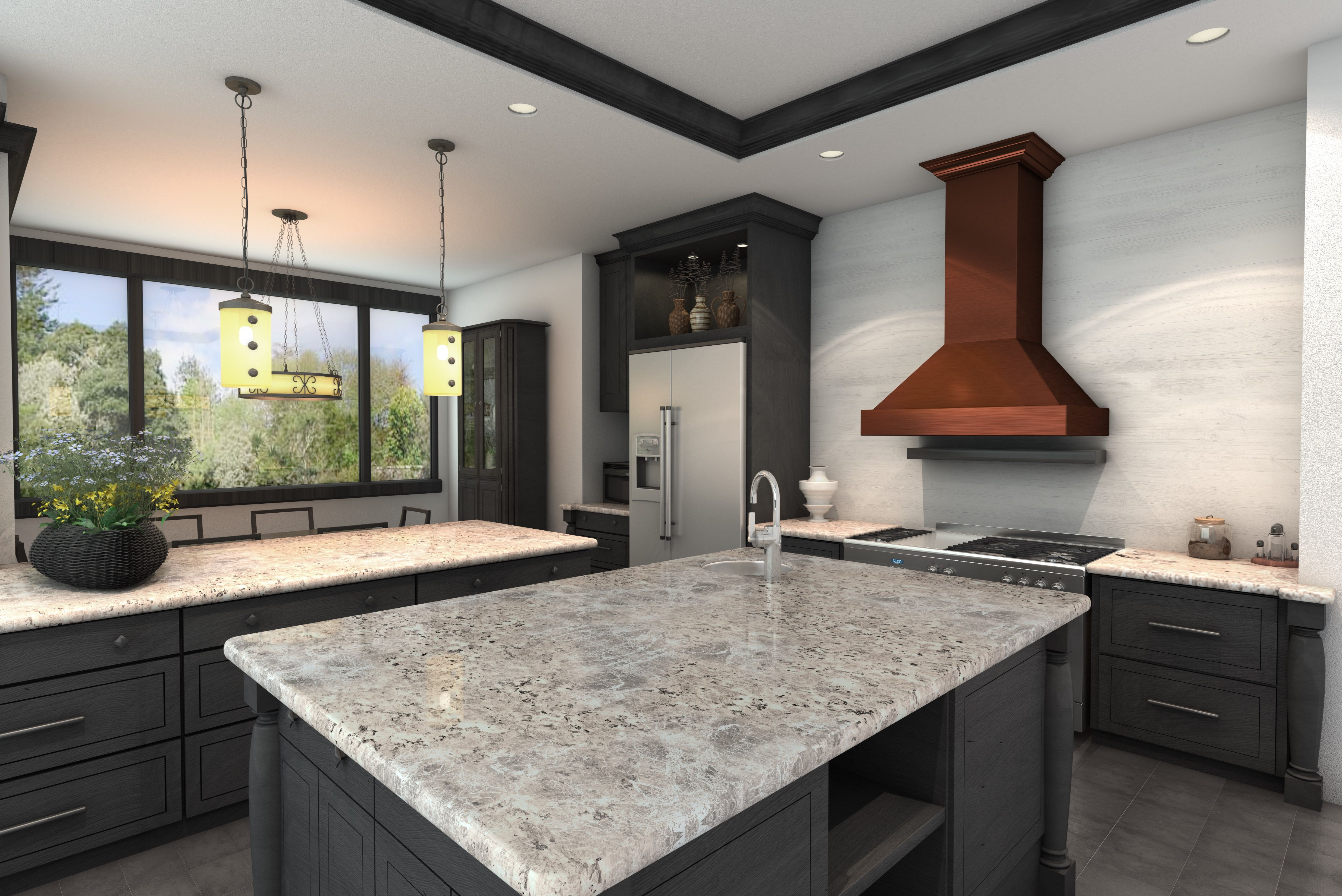 A Beautiful Kitchen Remodel With A Copper Range Hood Gray Cabinets And Granite Countertops Repin If You Range Hood Stainless Range Hood Wall Mount Range Hood