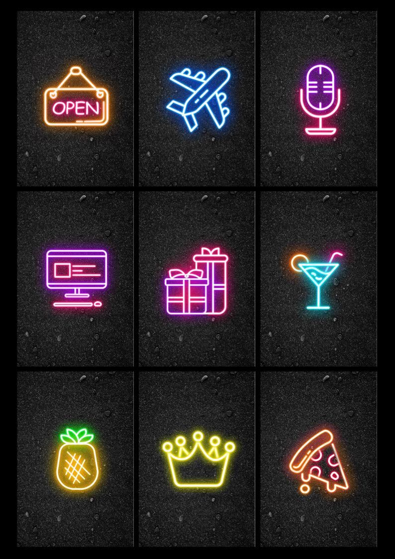 Neon Instagram Story Highlight Covers in 2020 Story