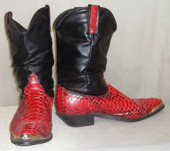 Vintage Dingo Red Black Snake Skin Slouch Boots 9M Leather Cowboy ...