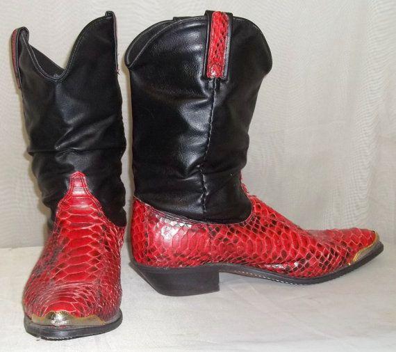 7dd61dd65af Vintage Dingo Red Black Snake Skin Slouch Boots 9M Leather Cowboy ...