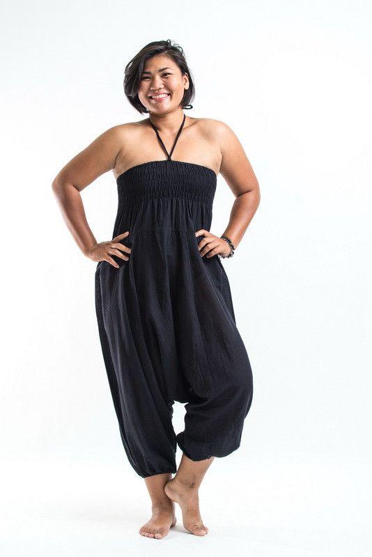 2c4924e9daf Plus Size Solid Black Jumpsuit Harem Pants