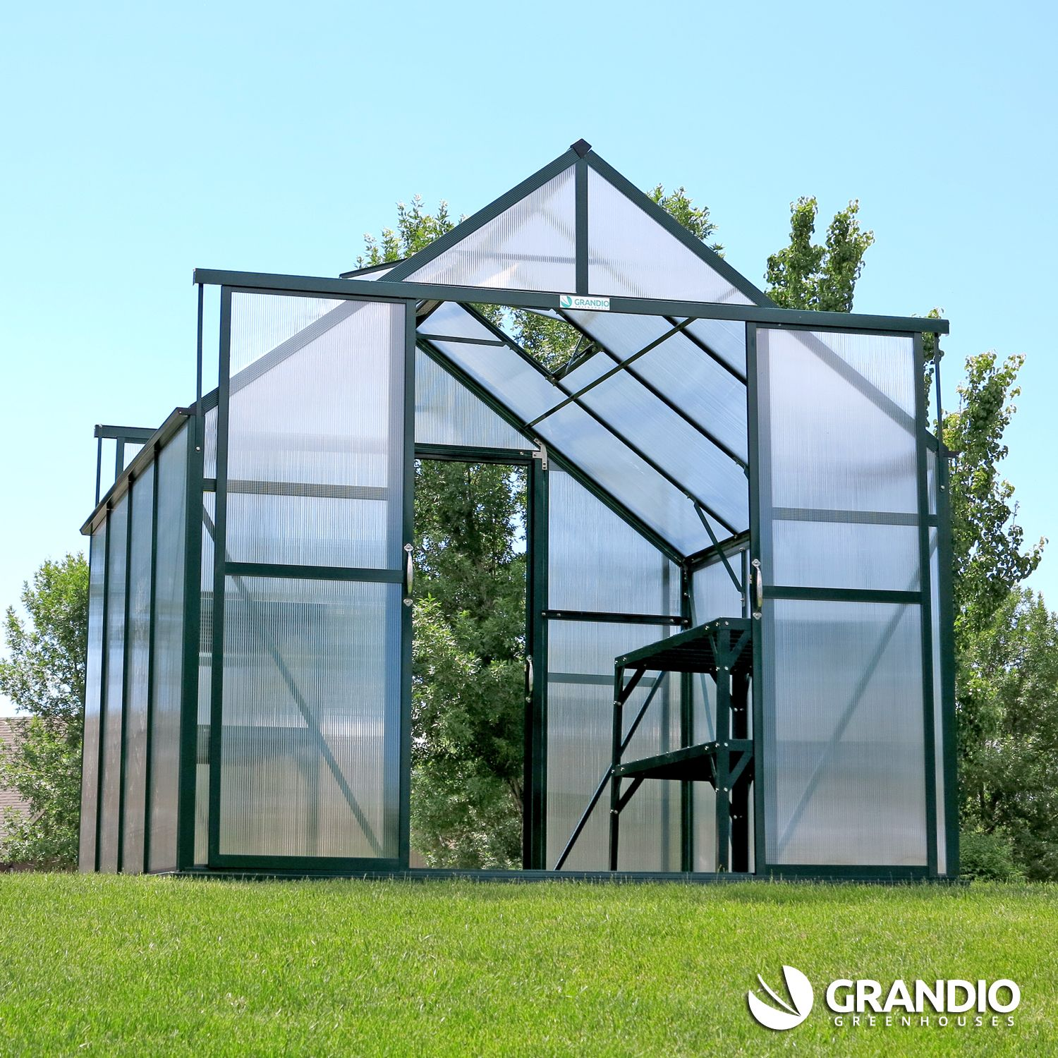 Grandio Ascent Greenhouse With Back Door Conversion Kit To Assist With Cooling And Ventilation Or For Easy Walk Thru Access With Images Greenhouse Back Doors Cool Stuff