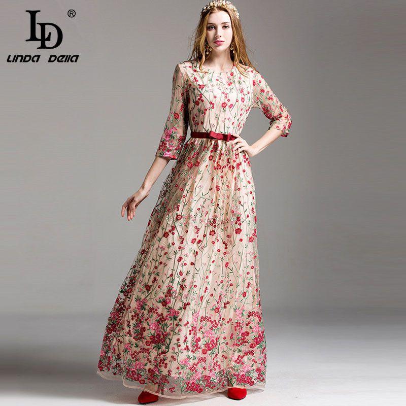 41e30dda51b2c New Fashion Runway Maxi Dress Women's elegant 3/4 Sleeve Floral ...
