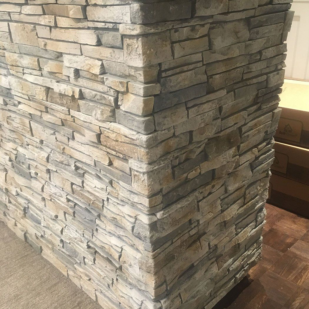 """Stone Accent Wall With Glitter Brick: Stacked Stone - 6x48"""" Panel - Limestone In 2020"""