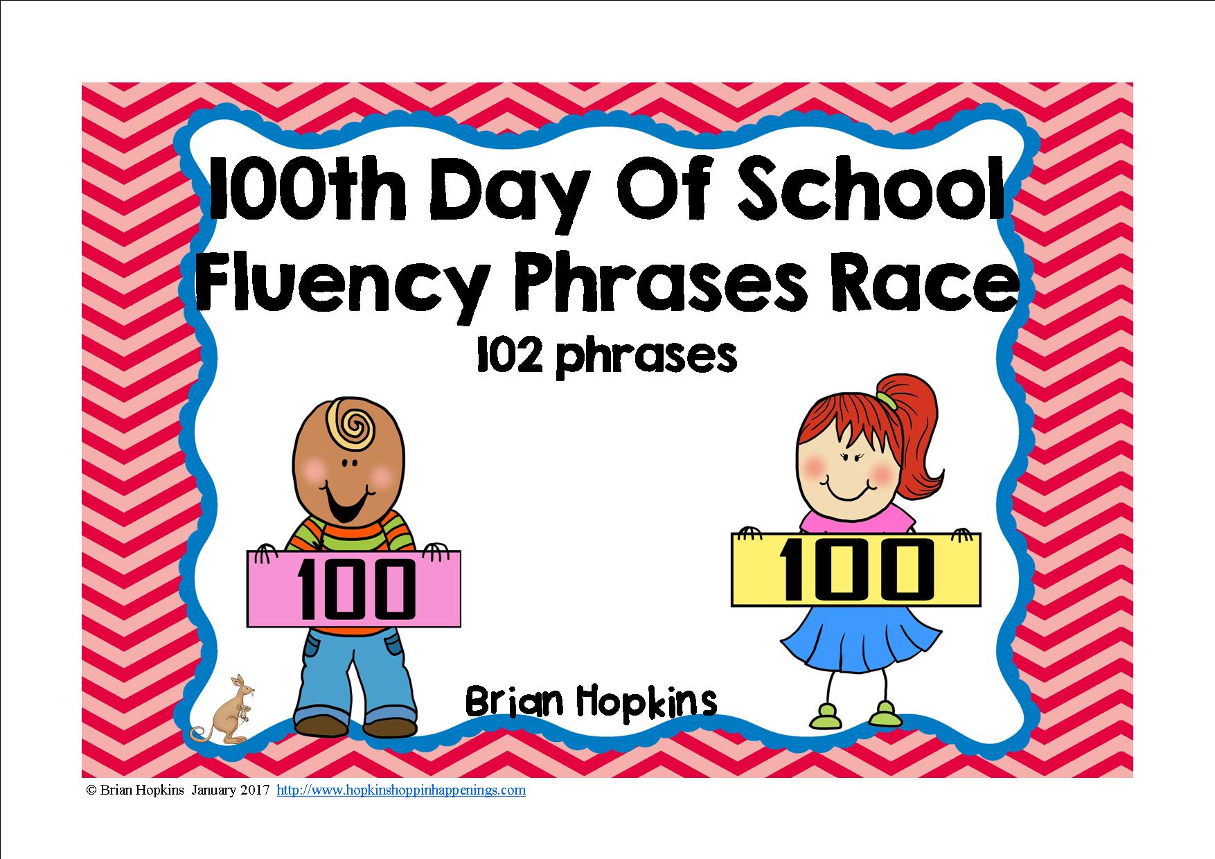 100th Day Of School Fluency Phrases Race