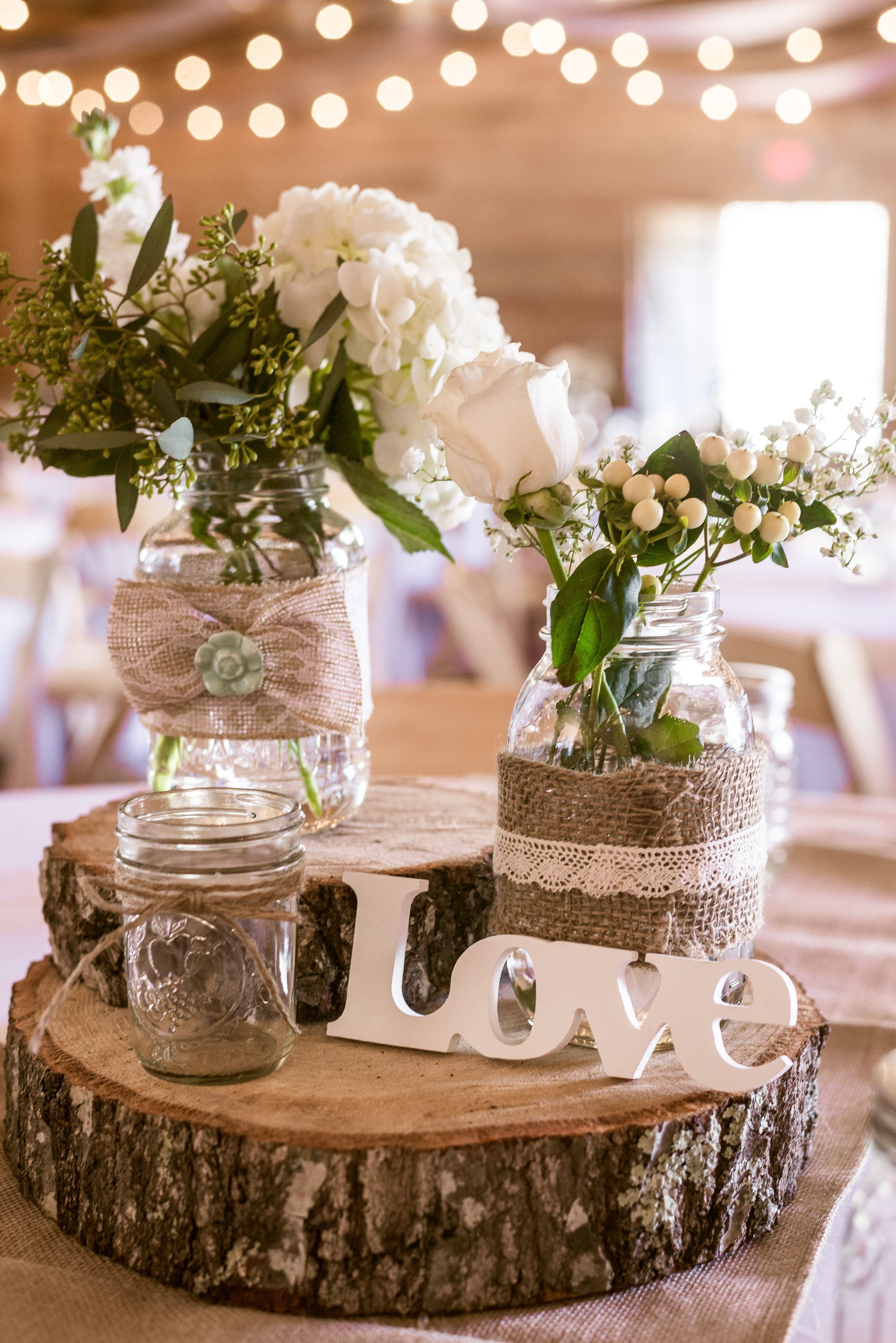 Mint Burlap Lace Wood Wedding Centerpiece For Rustic Barn