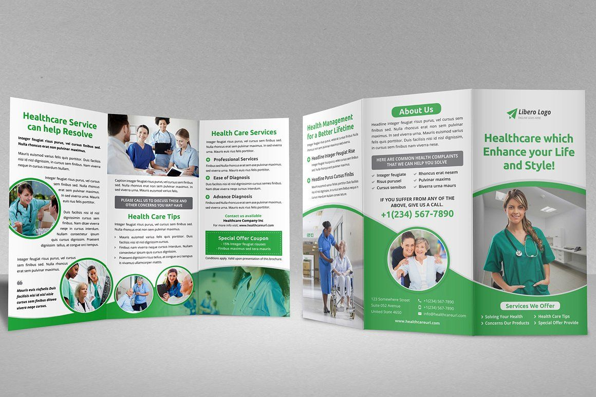 Medical Healthcare Trifold Brochure #IDML#Illustrator