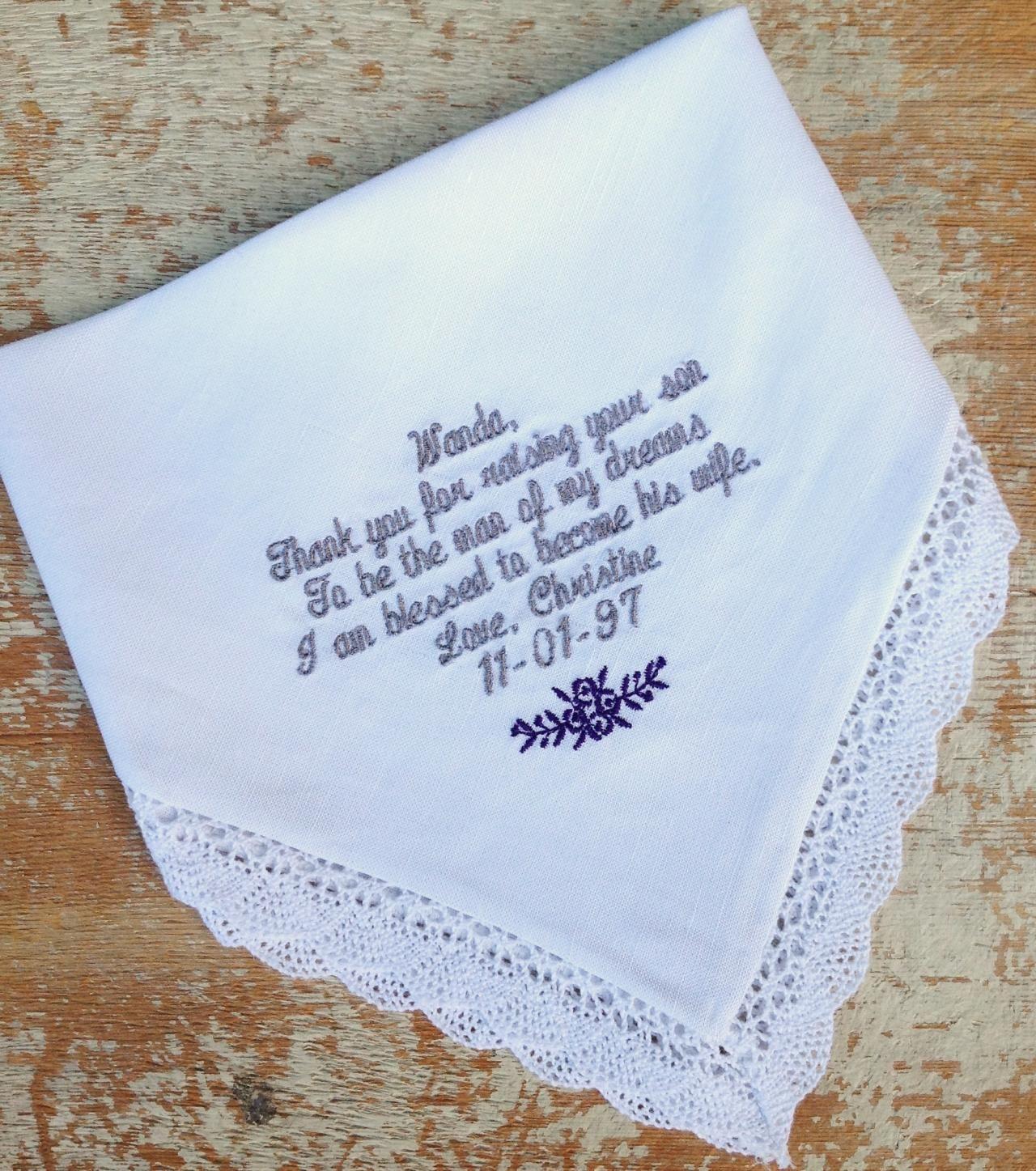 Mother in Law from BRIDE Wedding heirloom handkerchief | Wedding ...