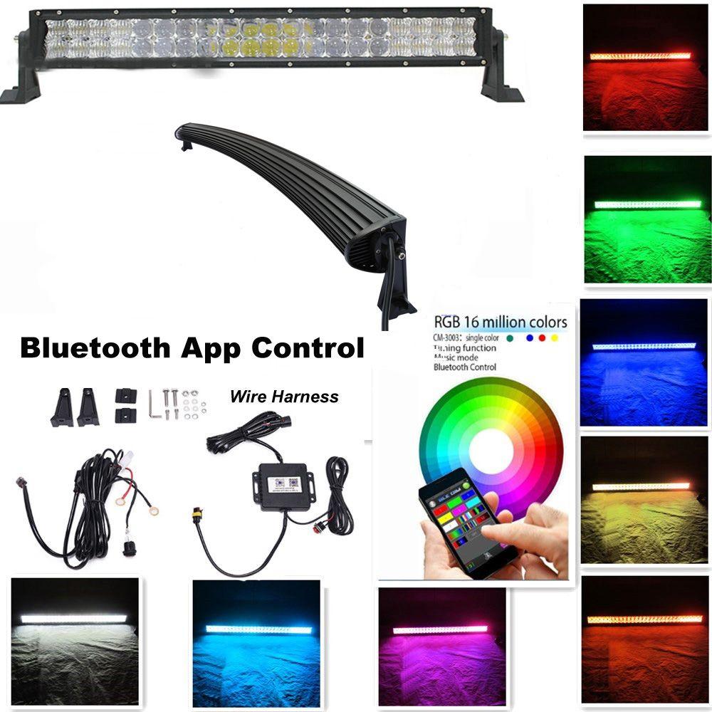 medium resolution of night break light curved 22 inch 120w 5d rgb led light bar 5d optic light bar