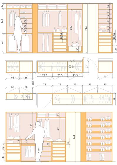disegno esecutivo armadio su misura Detalhes da