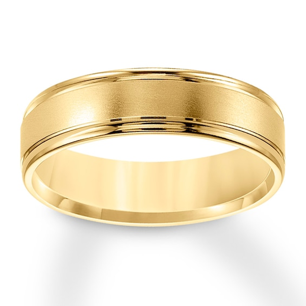 Brushed Wedding Band 10k Yellow Gold 6mm Kay In 2021 Mens Gold Wedding Band Brushed Wedding Band Wedding Bands