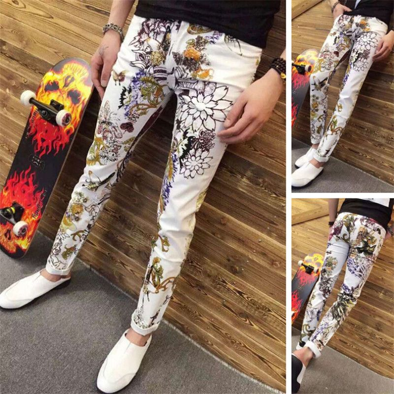 Mens Fashion men in tide male printed jeans color pants feet jeans ...