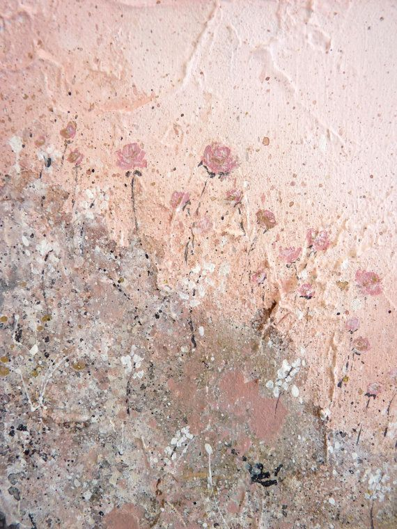 Blush Pink Art Pink And Gold Abstract Floral Painting Tiny