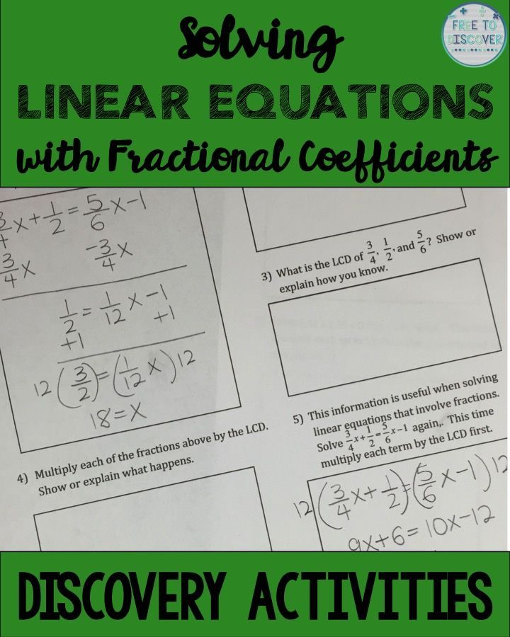 Solving Linear Equations Discovery Worksheet Reflection Activity