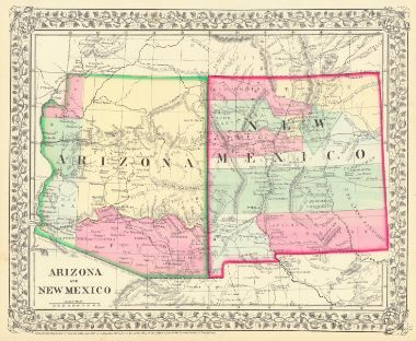 Map Of Arizona And New Mexico.County Map Of Arizona And New Mexico Mitchell S A 1867 Tucson