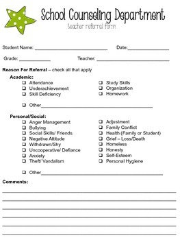 Editable School Counseling Teacher Referral Form  Teacher