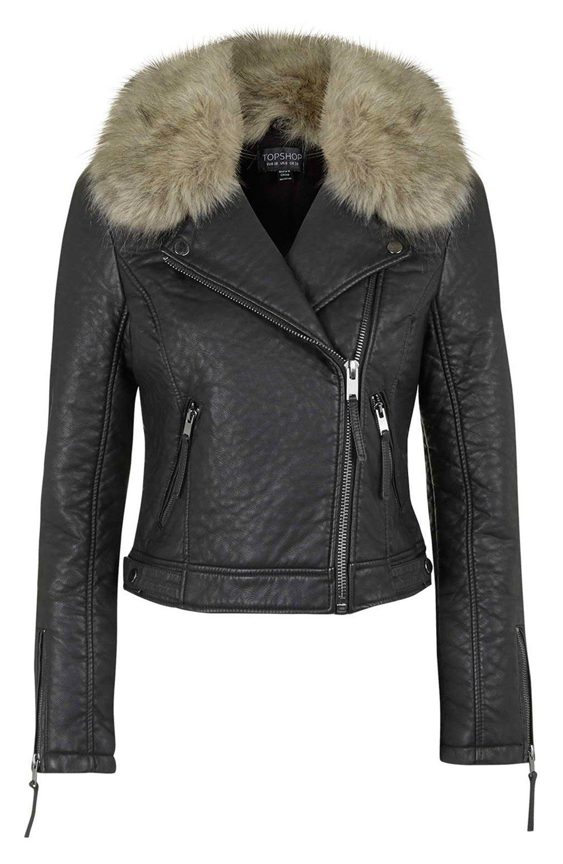 Faux Leather Moto Jacket with Removable Faux Fur