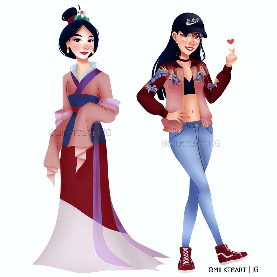3 539 Likes 101 Comments 奶茶画 Milkteart On Instagram Modern Mulan Disney Disney Princess Drawings Disney Princess Modern Modern Disney Characters