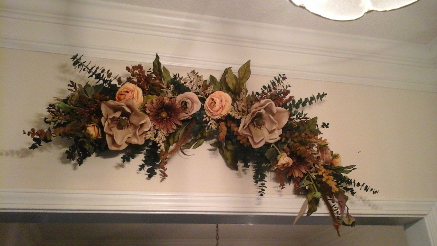 Floral Swag, Large Silk Floral Arrangement, SHIPPING ... on Decorative Wall Sconces For Flowers Arrangements id=48543