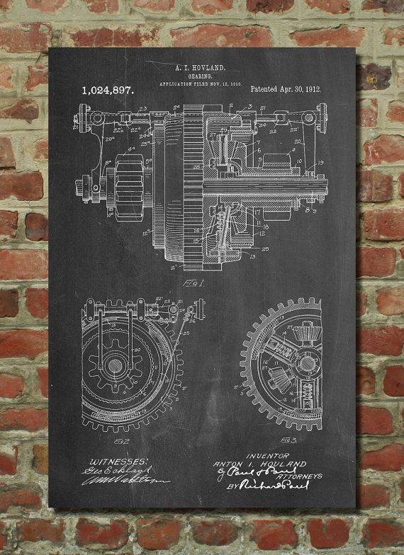 Mechanical Gearing 1912 Patent Poster Industrial Art