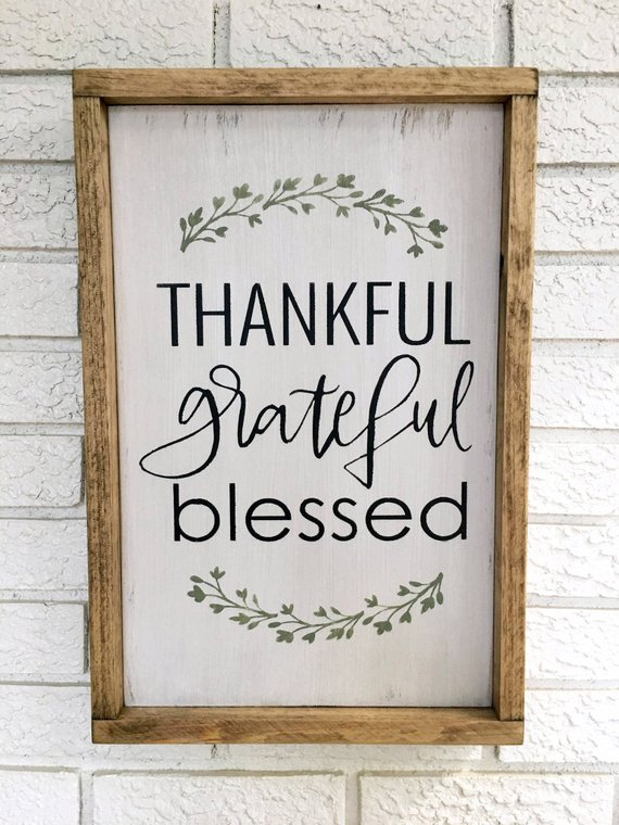 Thankful Grateful Blessed Rustic Wood Sign Rustic Decor Painted Farmhouse Signs