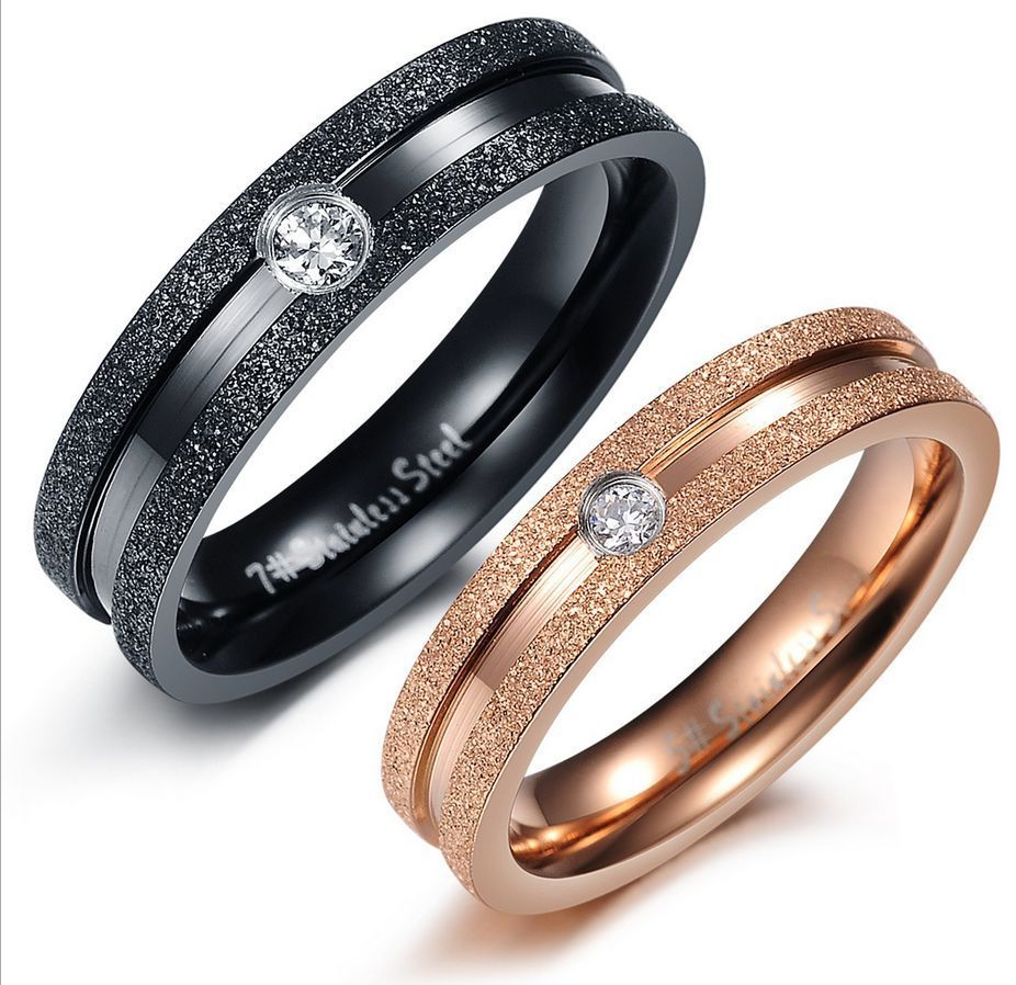 Titanium Steel Promise Wedding Band Black/Gold Crystal drill ...