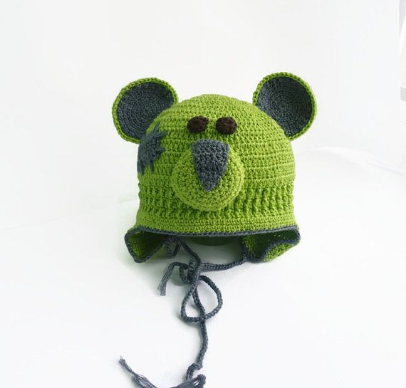 Green bear Teddy hat cotton boy animal hat green by SvitlanaSky ...