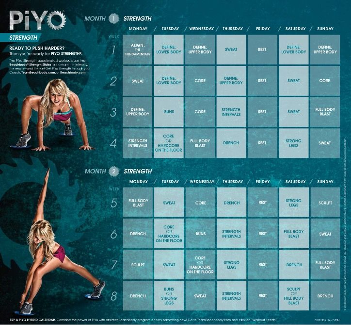 Piyo Strength Month 1 And 2 Diet And Exercise Pinterest
