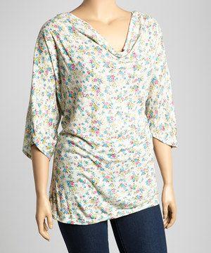 Look at this #zulilyfind! Poliana Plus Cream & Blue Floral Drape Top - Plus by Poliana Plus #zulilyfinds