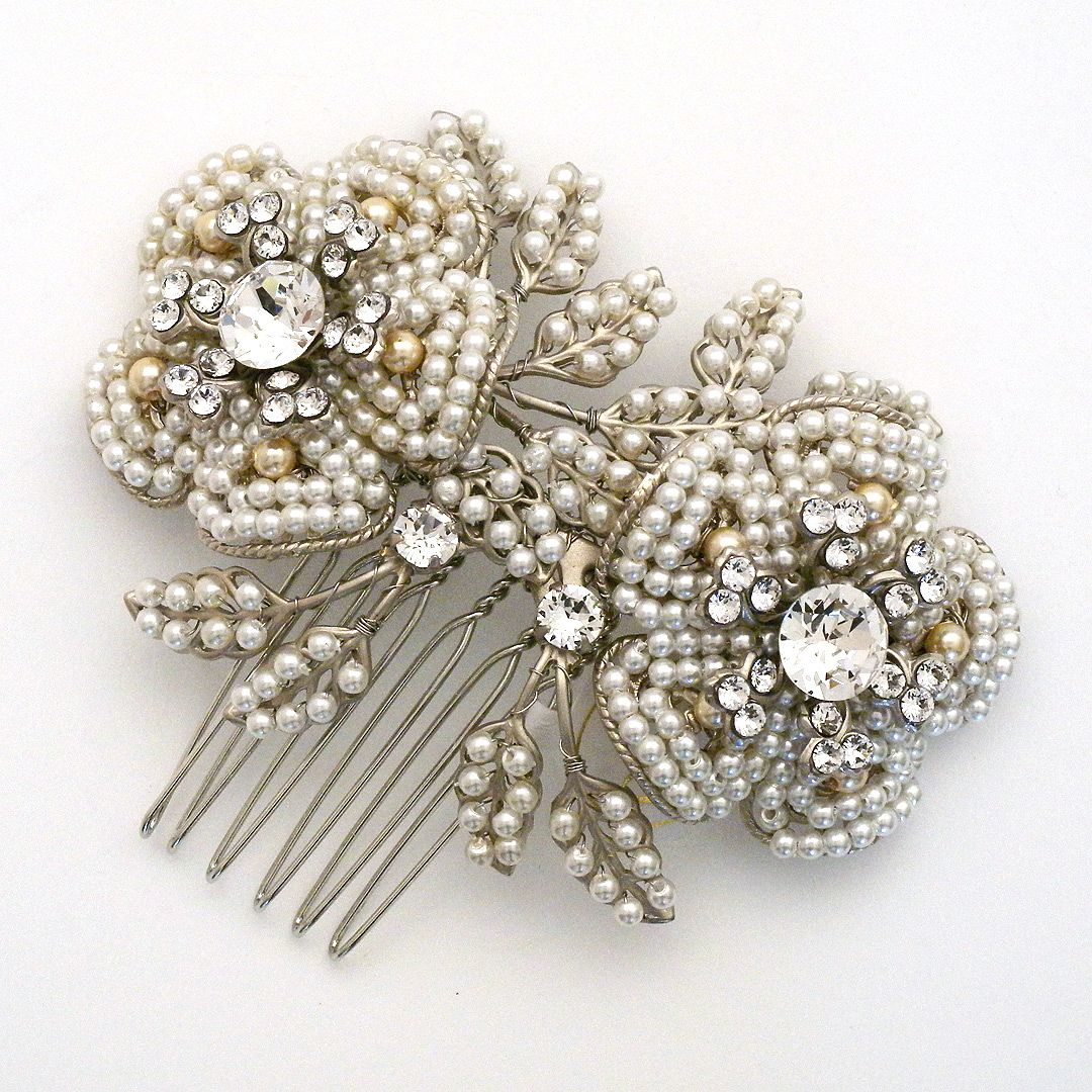 Lorelei Vintage Pearl Hair Comb in New Arrivals at