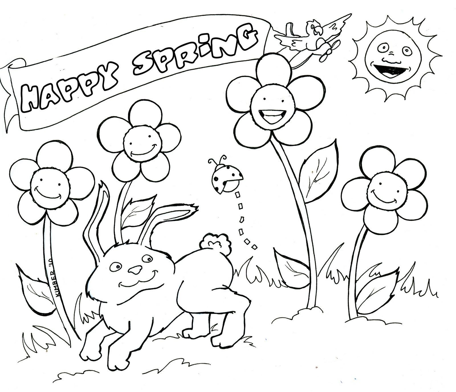 5 Worksheet Cute Coloring Pages For Children Springtime
