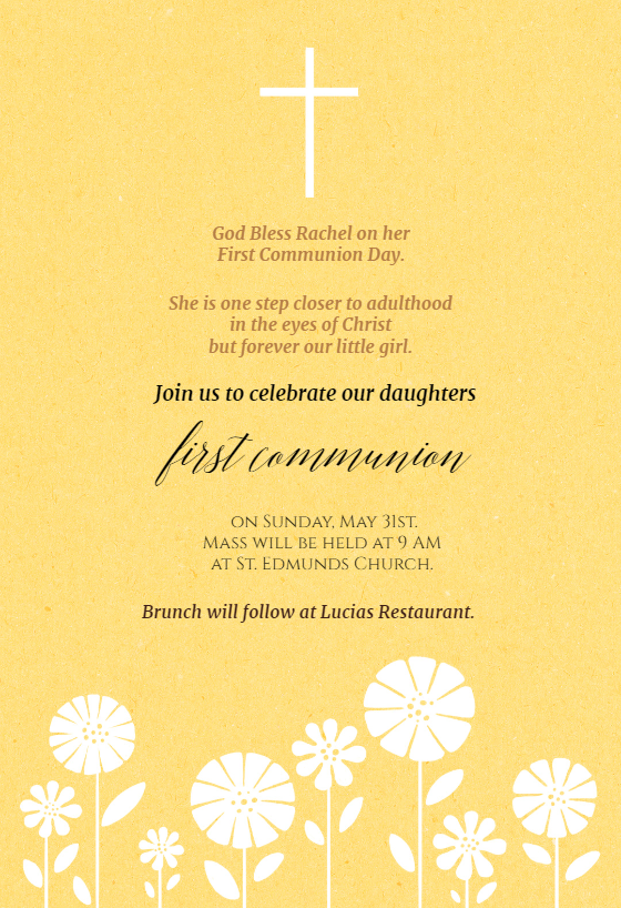 First Communion First Holy Communion Invitation Template Free Greetings Island First Communion Invitations Communion Invitations Holy Communion Invitations