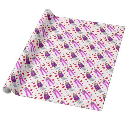 SSRLDogKingQueenCard Wrapping Paper - valentines day gifts gift ...