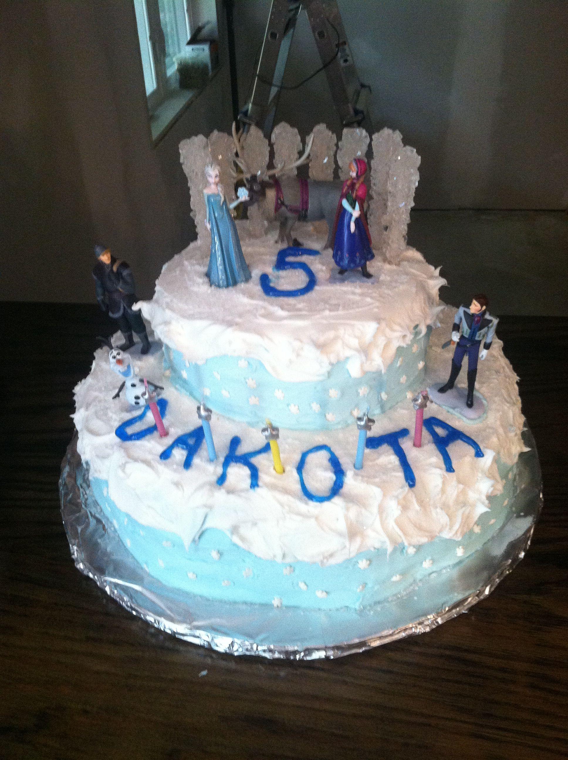 Dakotas 5th Birthday Cake Disney Frozen Theme Three Layer