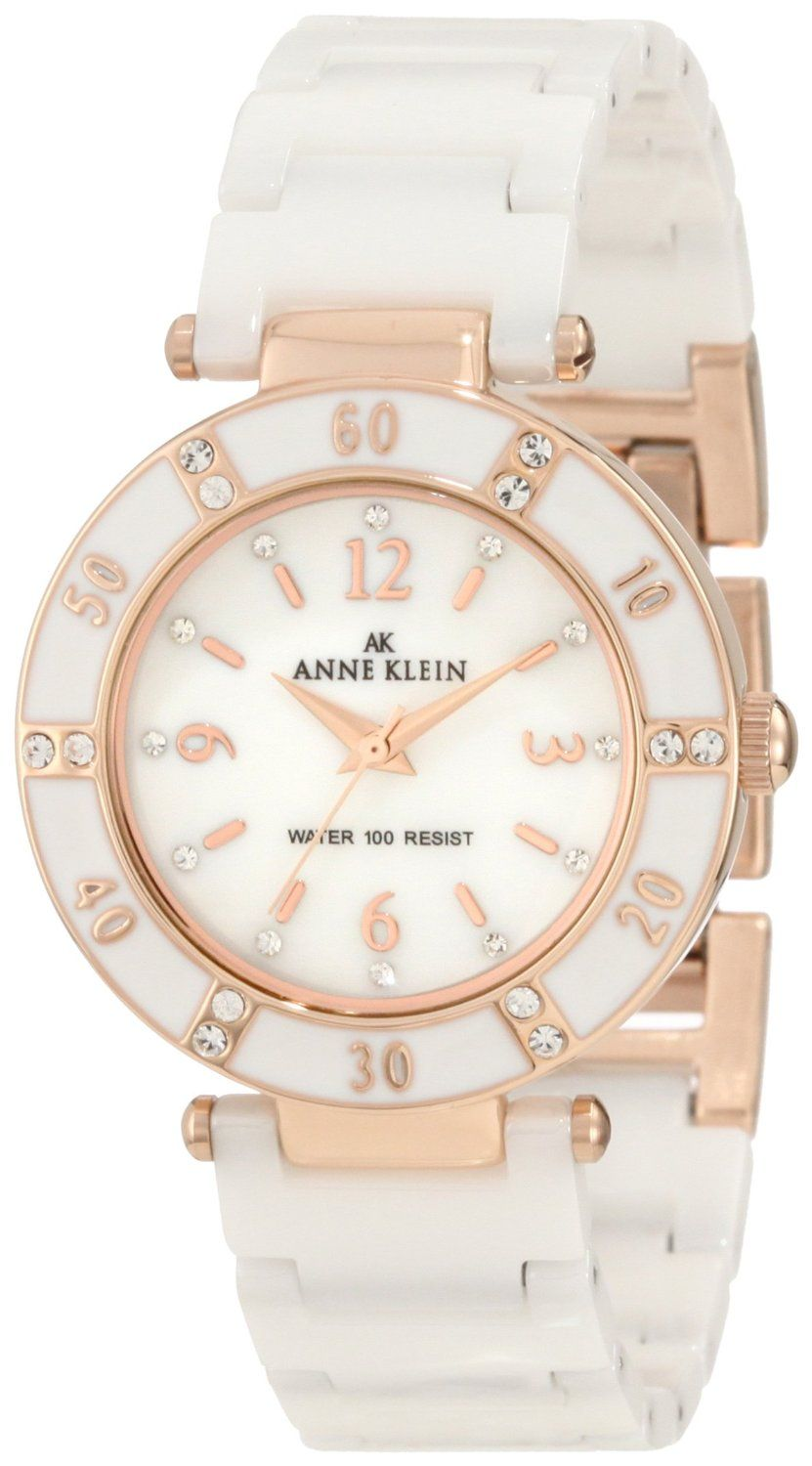 684feedce Anne Klein Women's 109416RGWT Swarovski Crystal Accented Rosegold-Tone  White Ceramic Watch