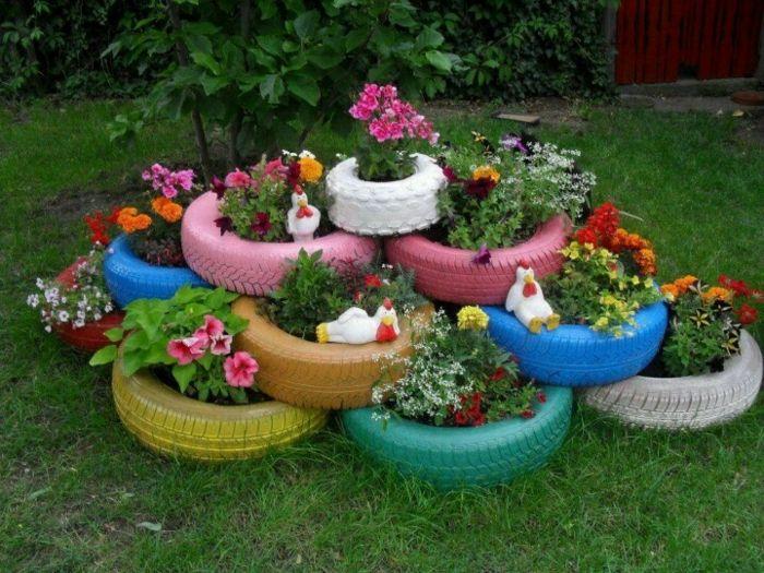 Gartendeko Selber Machen Autoreifen Wiederverwenden In ... Gartendekoration Mit Reifen